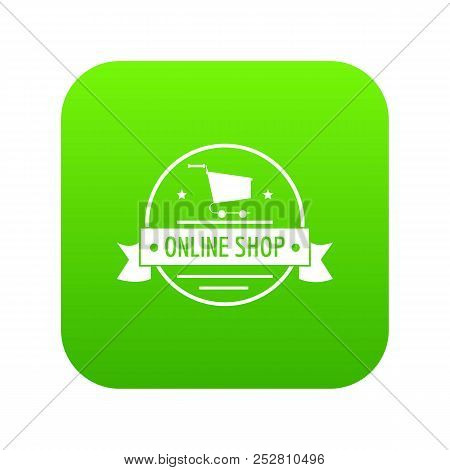 E Commerce Icon Green Vector Isolated On White Background
