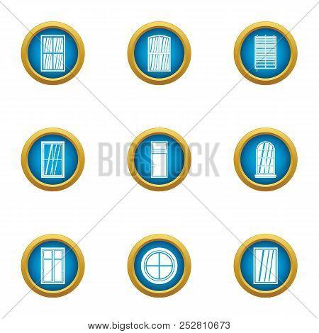 Shiny Window Icons Set. Flat Set Of 9 Shiny Window Vector Icons For Web Isolated On White Background