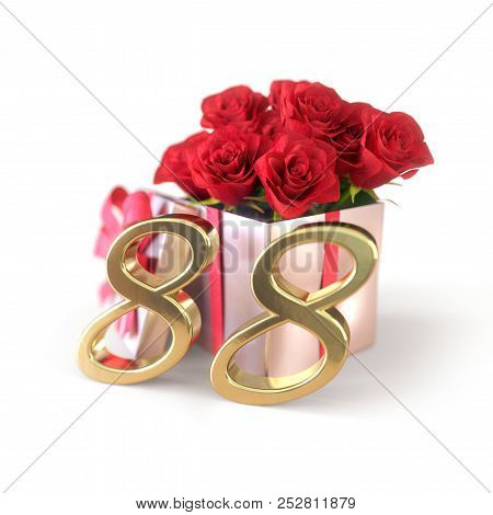 Birthday Concept With Red Roses In Gift Isolated On White Background. Eighty-eighth. 88th. 3d Render