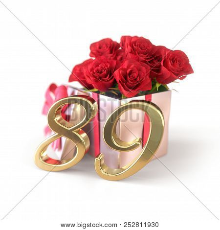 Birthday Concept With Red Roses In Gift Isolated On White Background. Eighty-nineth. 89th. 3d Render