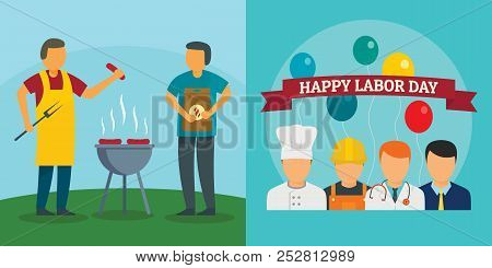 Labor Day Workers Celebration Banner Concept Set. Flat Illustration Of 2 Labor Day Workers Celebrati