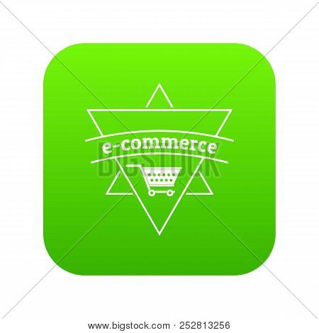 E Commerce Shop Icon Green Vector Isolated On White Background