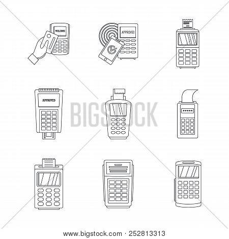 Bank Terminal Card Credit Machine Icons Set. Outline Illustration Of 9 Bank Terminal Card Credit Mac