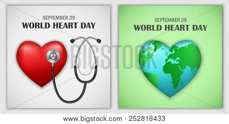 World Heart Day Core World Doctor Medical Banner Concept Set. Realistic Illustration Of 2 World Hear