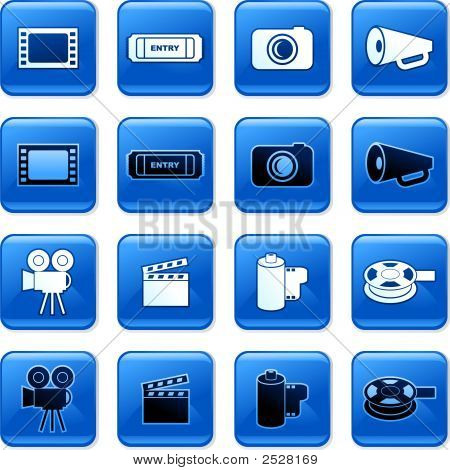 collection of blue square film rollover buttons poster