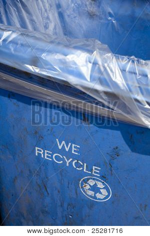 We Recycle - Blue Trash Container Bin