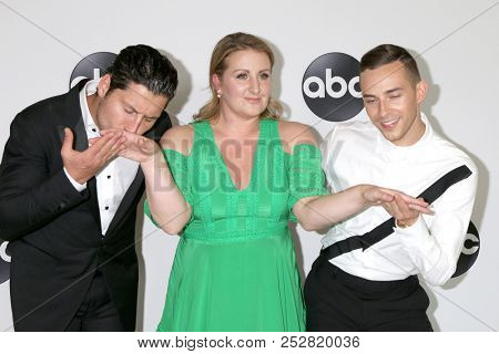 LOS ANGELES - AUG 7:  Val Chmerkovskiy, Mandy Moore, Adam Rippon at the ABC TCA Party- Summer 2018 at the Beverly Hilton Hotel on August 7, 2018 in Beverly Hills, CA