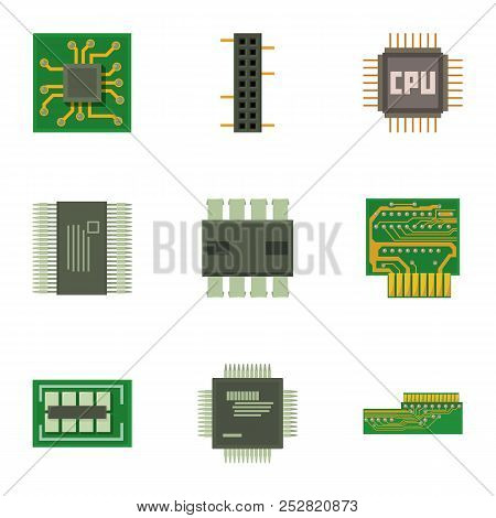 Chip Board Icons Set. Cartoon Set Of 9 Chip Board Vector Icons For Web Isolated On White Background