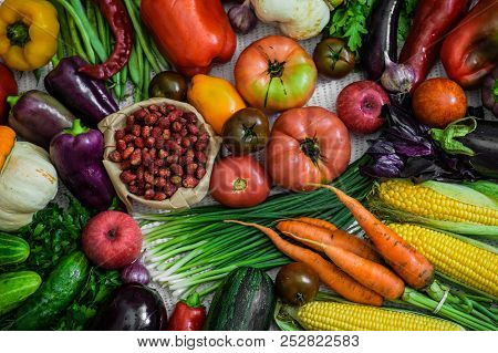Harvest, Autumn. Panoramic Collection Of Fresh Healthy Fruits And Vegetables. Healthy Eating Backgro