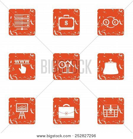 Stock Exchange Icons Set. Grunge Set Of 9 Stock Exchange Vector Icons For Web Isolated On White Back