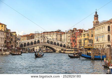 Venice Skyline At Venice Grand Canal And Rialto Bridge, Venice Italy