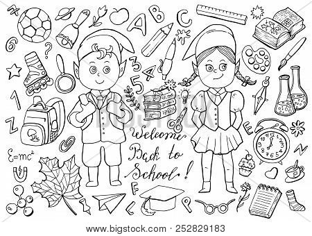 Design Black And White Set With Schoolgirl, Schoolboy And School Objects On White. Back To School Ve