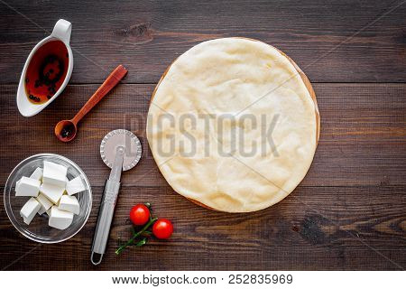 Process Of Cooking Pizza. Pizza Margarita. Raw Dough And Filling. Cherry Tomatoes, Cheese Mozzarella