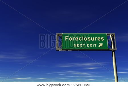 'Foreclosures' Freeway Exit Sign