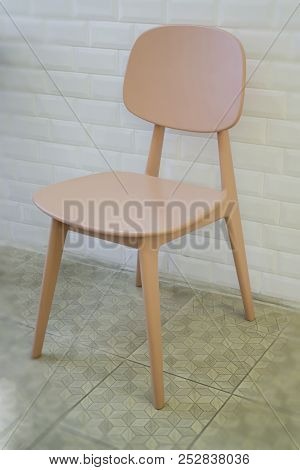Single Wooden Chair In Minimal Style Room, Stock Photo