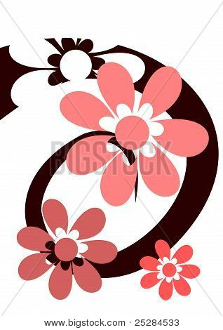 Spiral with pink flowers