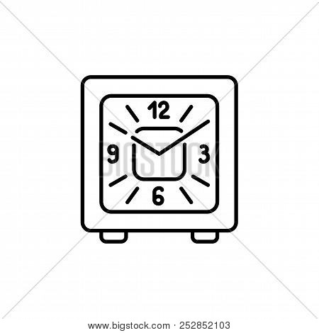 Vector Illustration Of Modern Desk Square Timepiece. Line Icon Of Alarm Clock With Clock Hands And A