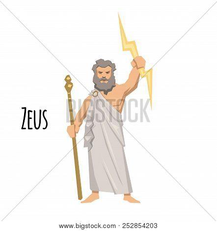 Zeus, The Father Of Gods And Men, Ancient Greek God Of Sky. Mythology. Flat Vector Illustration. Iso