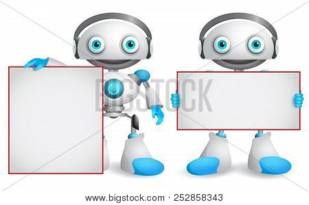 Robot vector characters set. Friendly and funny android robots holding empty blank whiteboard for presentation isolated in white background. Vector illustration. poster
