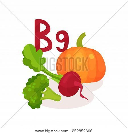 Products Containing Vitamin B9 Folic Acid . Fresh Beetroot, Pumpkin And Broccoli. Organic And Health