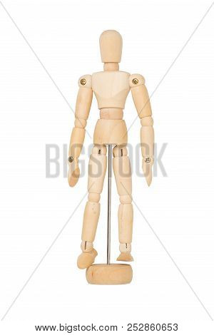 Wooden Figure Model Isolated On White Background With Clipping Path.