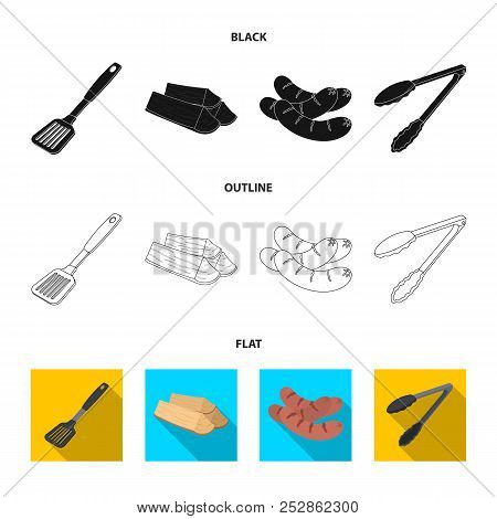 Blade Kitchen, Firewood, Sausages And Other For Barbecue.bbq Set Collection Icons In Cartoon Style V