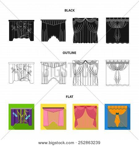 Embroidery, textiles, furniture and other web icon in black, flat, outline style.Curtains, stick, cornices, icons in set collection. poster