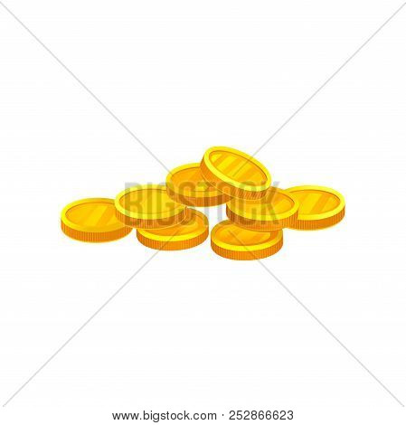 Heap Of Shiny Golden Coins. Investment And Economy Theme. Decorative Flat Vector Element For Banking