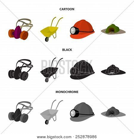 Headphones And Raspirator, Wheelbarrow, Helmet With A Lantern, The Entrance To The Mine.mining Indus