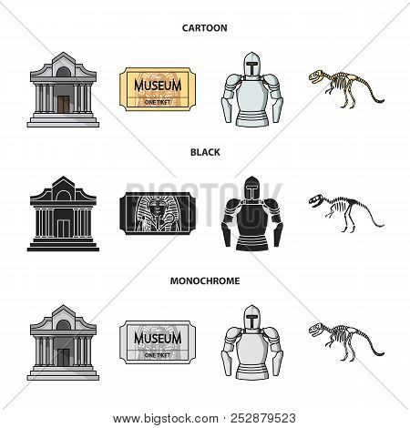 Picture, Sarcophagus Of The Pharaoh, Walkie-talkie, Crown. Museum Set Collection Icons In Cartoon, B