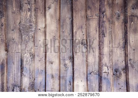 Wooden Wall With Vertical Planks. Close Up Of An Old Wooden Fence Panels