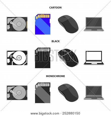 Computer Mouse, Laptop And Other Equipment. Personal Computer Set Collection Icons In Cartoon, Black