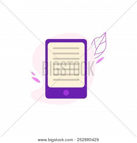 E-book Or Tablet With Opened Electronic Book For Online Reading And Education Concept.