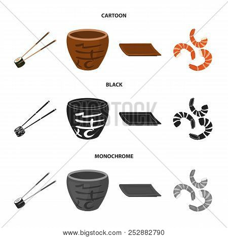 Sticks, Shrimp, Substrate, Bowl.sushi Set Collection Icons In Cartoon, Black, Monochrome Style Vecto