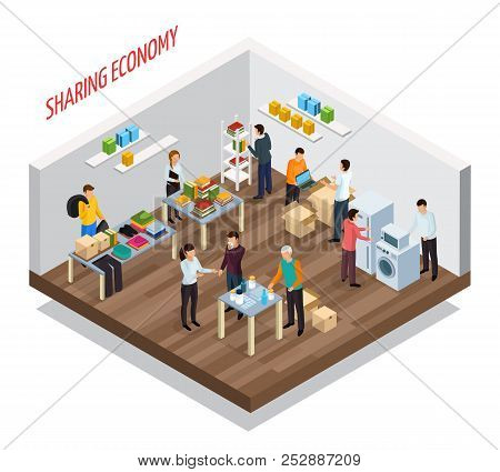 Sharing Economy Isometric Composition With View Of Room With Goods And Private Belongings For Gratui