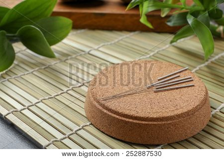 Cork Stand With Needles For Acupuncture On Bamboo Mat