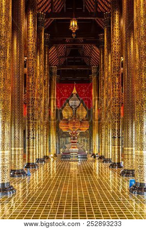Chiangmai, Thailand - June, 27, 2018: Beautiful Ancient Style Interior Of Royal Pavilion In Royal Pa