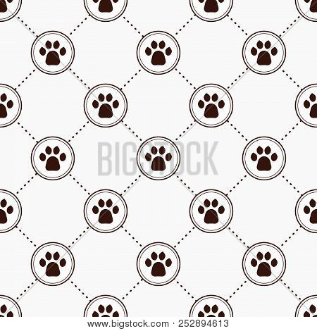 Cats Paw Print. Seamless Animal Pattern Of Paw Footprint