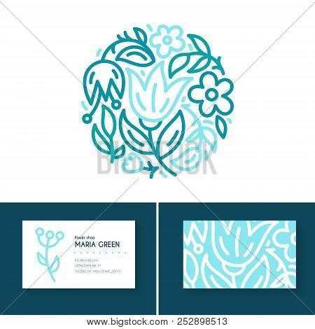 Premium Business Identity Set With Logo, Business Card Design For Flower Shop, Organic Cosmetics, Br