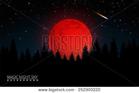 Dark Forest And Big Red Moon. Vector Illustration Modern Background
