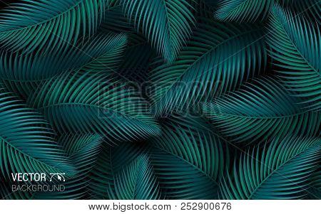 Tropical Leaves Palm Jungle Seamless Leaf Floral Pattern Background. Vector Illustration