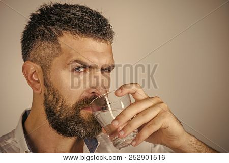 Hangover and thirst. Hipster drink clean healthy water, refreshing. poster