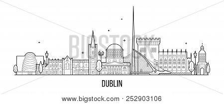 Dublin Skyline Ireland Vector Big City Buildings