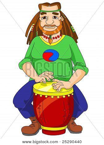 hippie playing the bongo