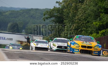 August 05, 2018 - Elkhart Lake, WI, USA:  The Turner Motorsport BMW M6 GT3 races through the turns at the Continental Tire Road Race Showcase at Road America in Elkhart Lake, WI.