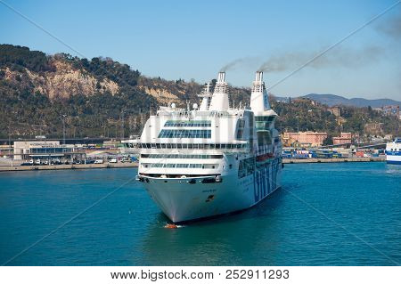 Barcelona, Spain - March 30, 2016: Cruise Ship Gnv Rhapsody Genova In Harbor. Cruise Ship Destinatio