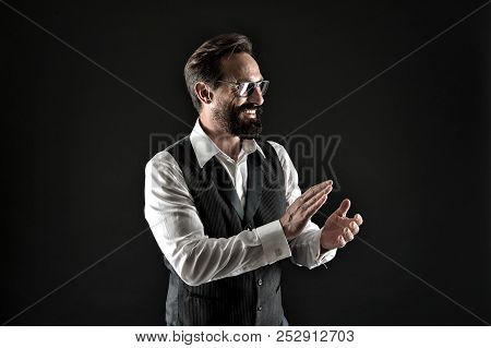 Bravo Applause. Man Well Groomed Elegant Formal Suit Clap Hands Approving Something Black Background
