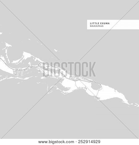 Map Of Little Exuma Island,bahamas, Contains Geography Outlines For Land Mass, Water, Major Roads A