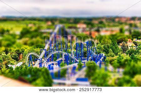 Castelnuovo Del Garda, Italy - May 1: Rollercoaster Inside Gardaland Amusement Park, Near Lake Garda