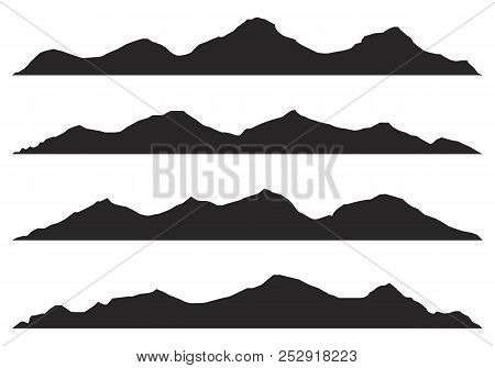 Mountains Silhouettes On The White Background.set Of Hand Drawn Landscape With Silhouette Mountain P